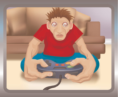 much: A TV eye view of someone who has played too much on his games console. Illustration