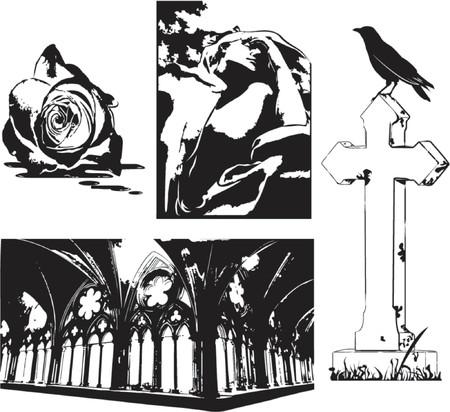 cripta: Una selezione di elementi dark gotico grungy.  Vettoriali