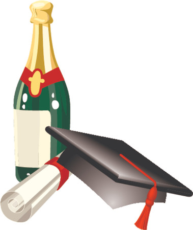 positioning:  Graduation celebration related items; mitre cap, champagne and diploma, in vector file each is on a different layer for easy positioning Illustration
