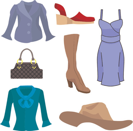 vain: A selection of clothes and fashion accessories. Illustration