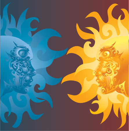 opposing: two opposing faces one blue and one yellow orange