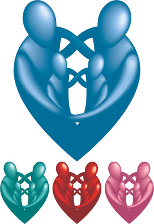 A loving protective family forming a heart shape. Illustration