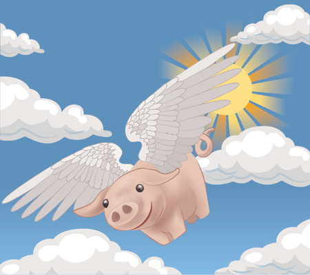 might: pigs might fly, a flying pig