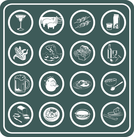 champagne orange: A set of food and drink icons.
