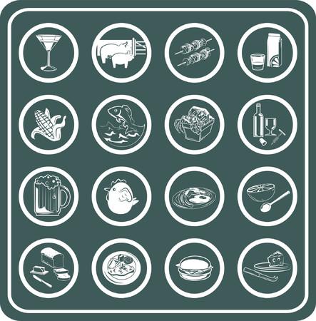 steak plate: Un sistema de iconos del alimento y de la bebida.