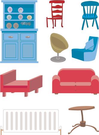kiválasztás:  A selection of furniture. Illusztráció