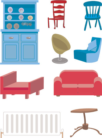 cupboards:  A selection of furniture. Illustration
