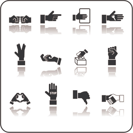 A hand elements icon series set Vector
