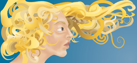a beautiful woman with curly blonde hair blowing in the wind. Vector