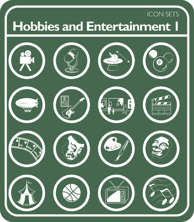 Hobbies and entertainment icon series set Illustration