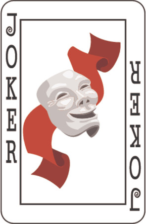 joker card:  Joker card from deck of playing cards, rest of deck available. Illustration
