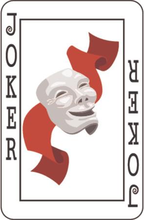 joker naipe: Joker tarjeta de baraja de naipes, resto del piso.  Vectores
