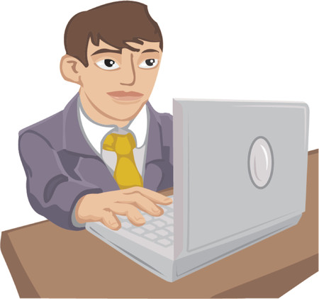 A young man in a suit using a laptop computer. Stock Vector - 663284