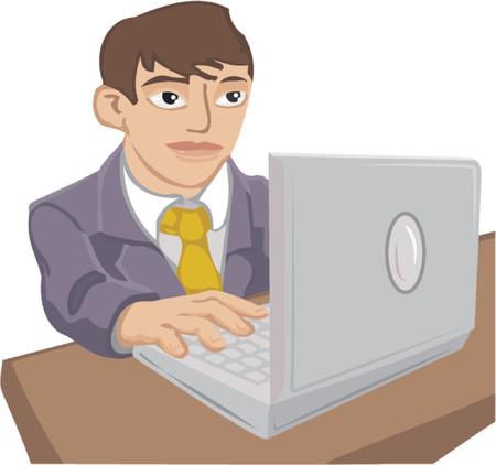 hombre caricatura: Un hombre joven en un traje utilizando un ordenador port�til.