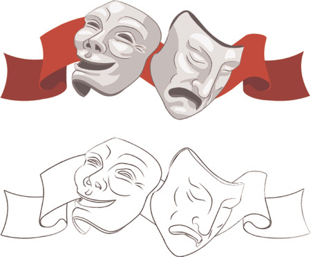 Theatre comedy and tragedy masks. Stock Vector - 663286