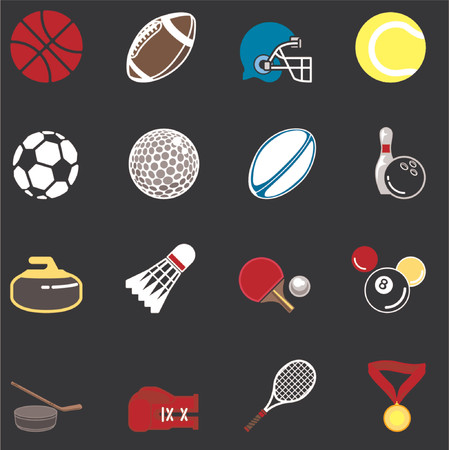 relating: series of icons or design elements relating to sports Illustration