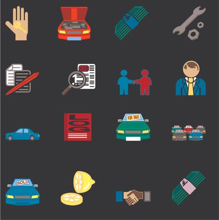 car showroom: iconos o elementos de dise�o relacionados con la compra de un coche