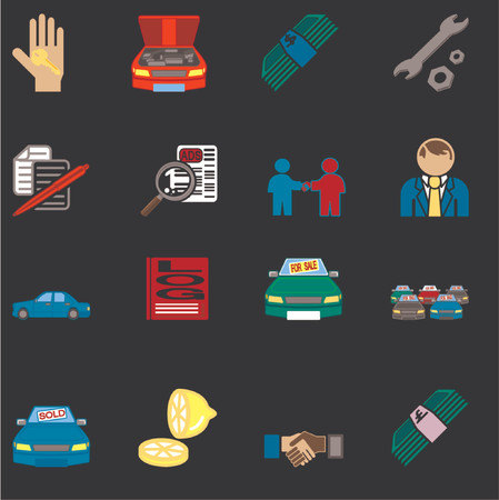 bought: icons or design elements related to purchasing a car