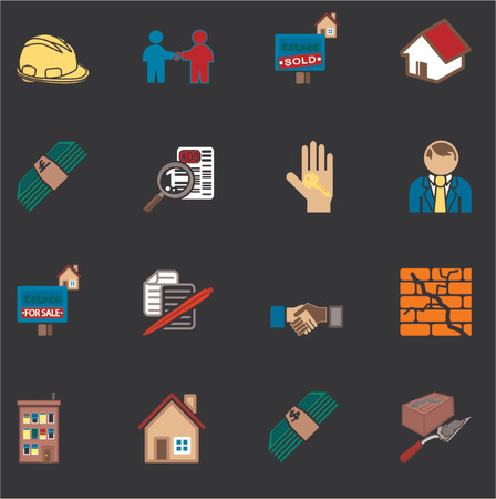 icons or design elements related to home  house buying, real estate, or estate gents. Illustration