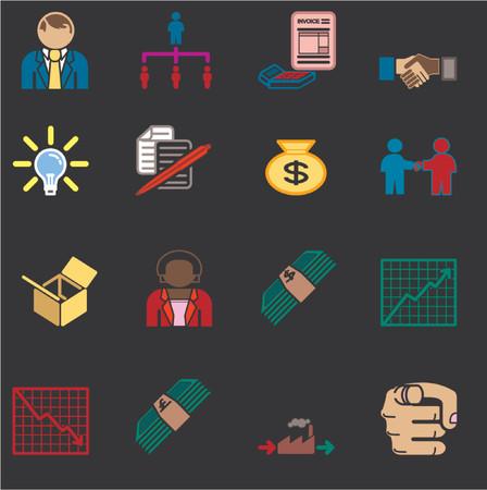 profit and loss: Icone o elementi di design connessi alle imprese e l'organizzazione della serie.