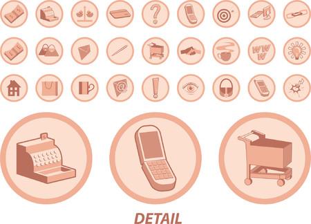 hand cart: Lotes de iconos �tiles para web y otros usos. Incluye efectivo, caja registradora, de tarjetas de cr�dito, tel�fonos m�viles, la cadena de enlaces, agitar lado, el correo iconos, bombilla carrito de la compra, el tipo de cambio y el icono de carga m�s.  Vectores