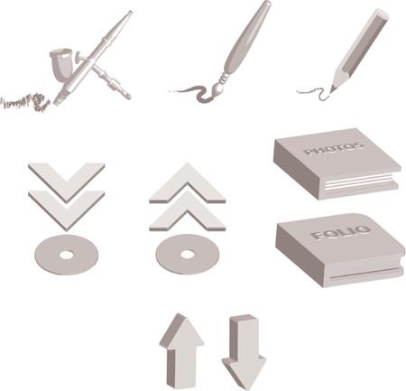 aerografo: Iconos para los dise�adores y illustartors, Bruch incluye pintura, aire pincel, l�piz, cartera y �lbum de fotos iconos.