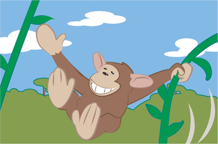 A cute monkey swinging through the trees. Vector
