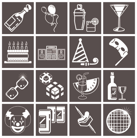 party icon set series. icons or design elements relating to parties. Vector