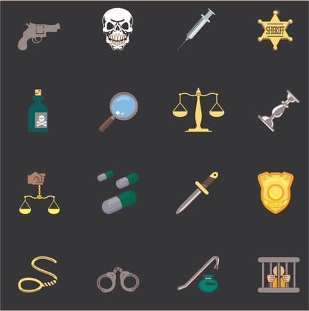 a series set of design elements or icons relating to law, order, police and crime. Vector
