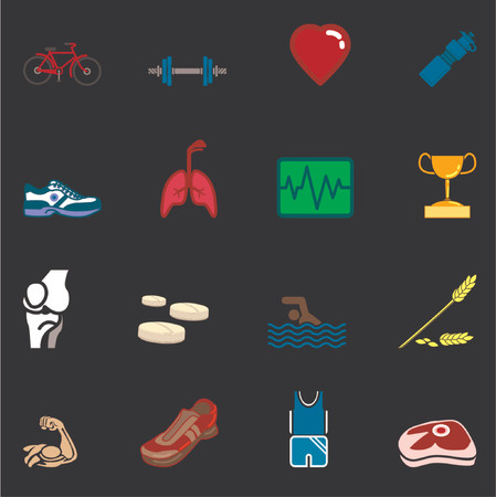 relating: health and fitness icon set series. Icon or design element set series relating to health and fitness.