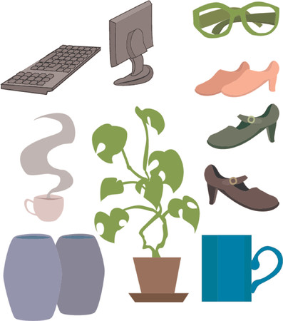 an assortment of lifestyle objects. Vector