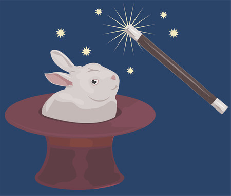 trickery: A rabbit appearing out of a tophat and a magic wand