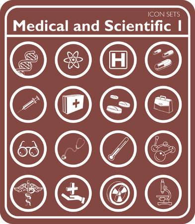Medical and scientific icons. Vector