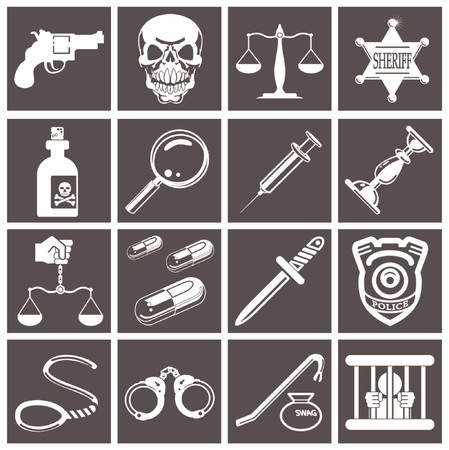 criminals: a series set of design elements or icons relating to law, order, police and crime.