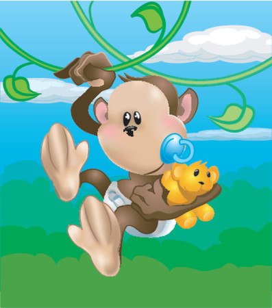 A cute  monkey swinging through the trees Vector