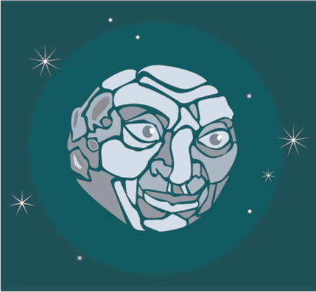 lunatic:  A vector illustration of a moon with a face Illustration