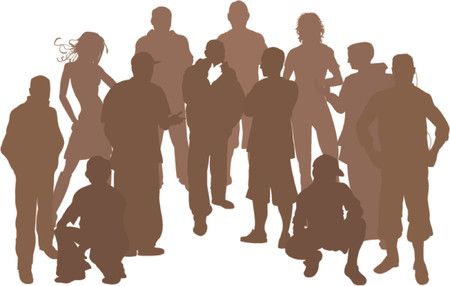 A group of 12 funky young friends. Each is a complete silhouette Stock Vector - 654320