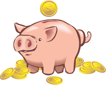 a piggy bank with a coin going into it. Vector