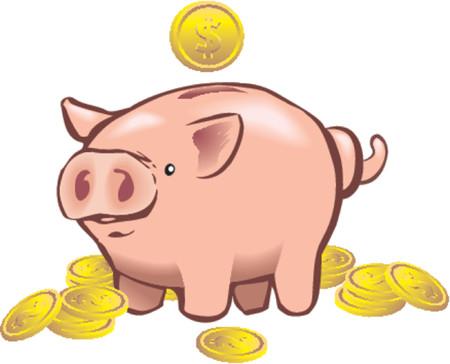 pensioen: een spaarvarken met een munt in te gaan op het.
