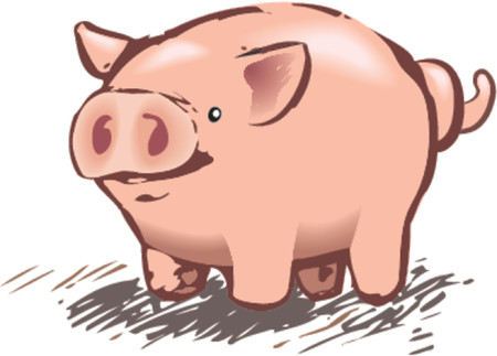 sowing: A cute piggy pig in a rough and ready style! No meshes used, all blends or gradients. Illustration