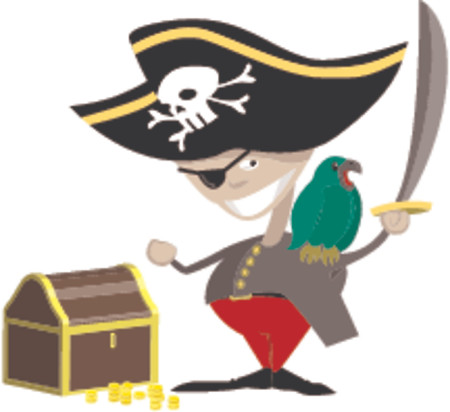 plunder: A pirate with a parrot and chest of treasure.