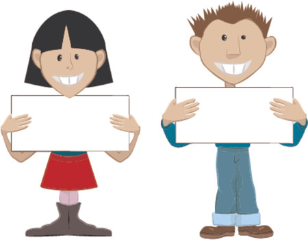 display type: 2 people with blank placards. Place whatever you like on the boards. Illustration