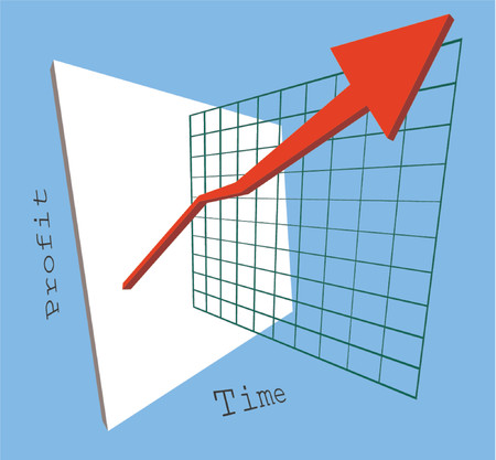 A 3d graph showing profits shooting up jumping out of the screen. Colours easily changed. Stock Vector - 654247