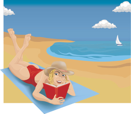 A woman sunbathing and reading on a beach. Stock Vector - 654252