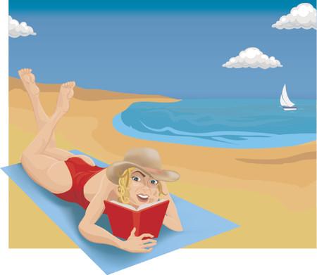 mujer acostada en cama: Una mujer tomando el sol y la lectura en una playa.
