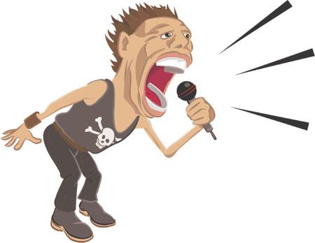rockstar: een Rockstar schreeuwen in een microfoon. Stock Illustratie