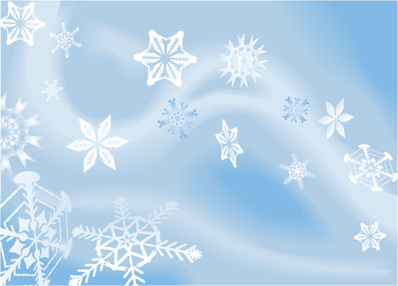 a winter background with snowflakes falling. Shading by blends, no meshes used. Vector