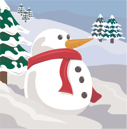 A snowman in a winter scene Vector