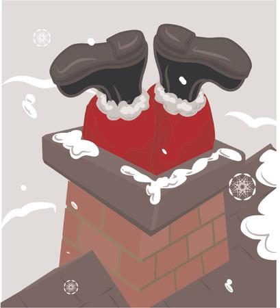 saint nicholas: Santa atascado en una chimenea  Vectores