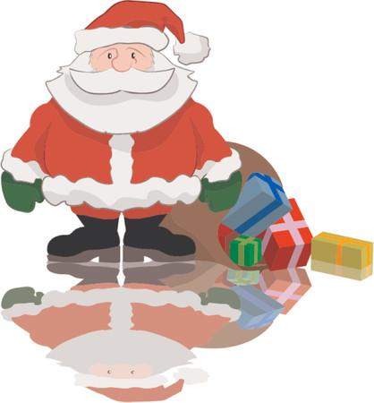 Santa with a big bag of presents Vector